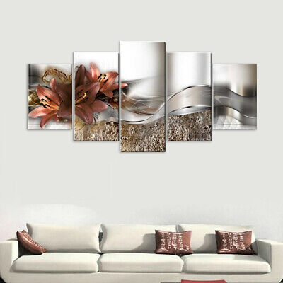 5 Panels Unframed Modern Canvas Painting Picture Room Wall Hanging Decorative Uk