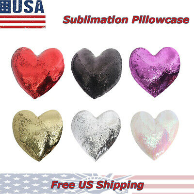 Heart Shape 6pc Sublimation Blank Sequin Pillowcase Double Side, Free Shipping
