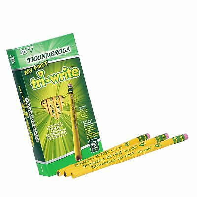 TICONDEROGA My First Tri-Write Pencils with Eraser, Primary Size Wood-Cased #...