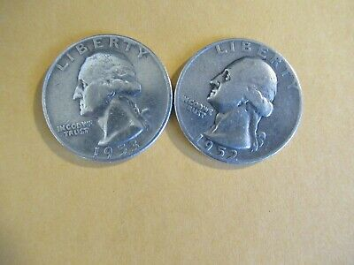 #263: Set of 2 US 1950's Quarters Dated 1952 and 1953. 90% Silver