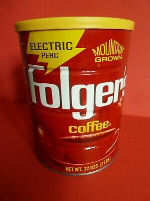Full SEALED Vintage FOLGERS Mountain Grown COFFEE CAN Tin 2 LB Advertising 1984