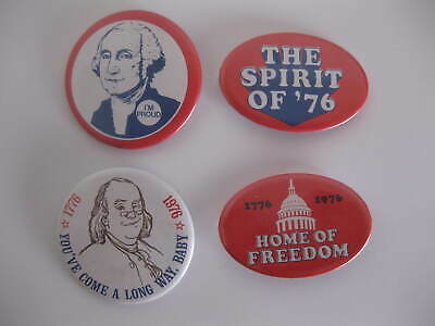 Vintage Bicentennial 1776-1976 Pin Back Buttons ( Lot of 4 )