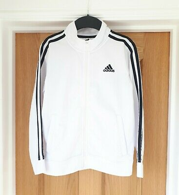 Adidas White With Black Stripe Jacket  Size L (12-14 Years)