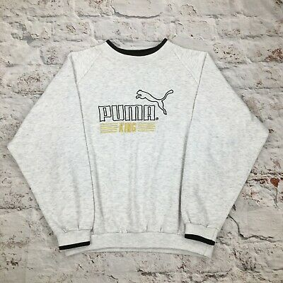 Vintage Puma King Sweatshirt Youth Large Grey Embroidered 90s Boys XS Small