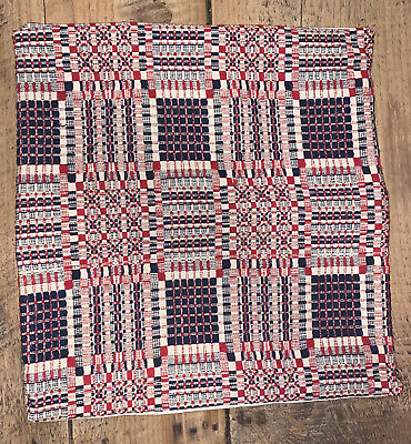 Antique American Coverlet pillow Case Cover Red White Blue 1800's