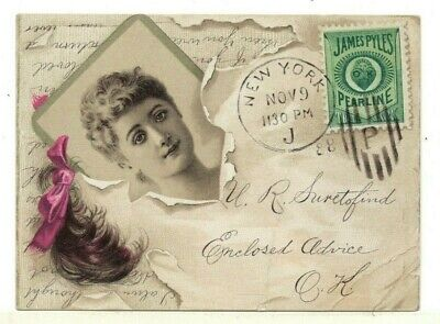 """1888 James Pyles Pearline Soap Trade Card – Looks Like Cancelled Cover 4"""" x 3"""""""