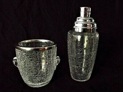 mid century French crackled glass cocktail /martini shaker & ice bucket bar set