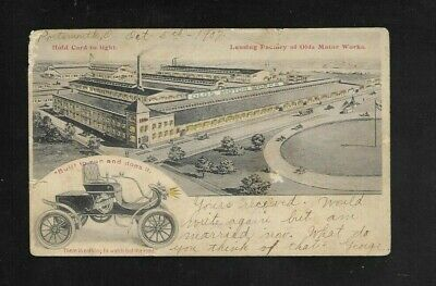 Antique Auto Advertising postcard for 1907 Oldsmobile, HOLD TO THE LIGHT CARD