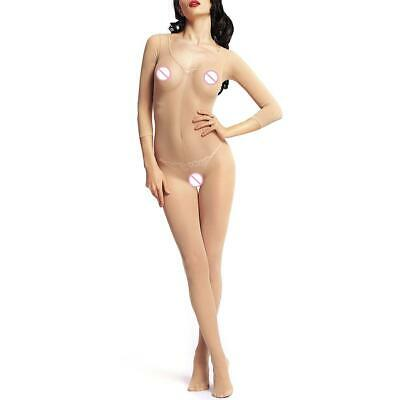 UN3F Crotchless See Through Lingerie Body Stocking Women Babydoll (Champagne)