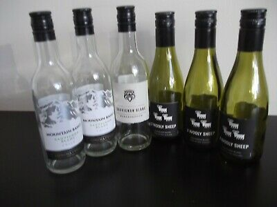 Six Mini EMPTY Green & Clear Glass Wine Bottles with Screw tops.187mls Used