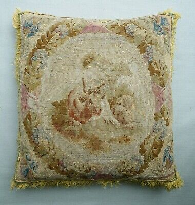 Antique 18th Century French Aubusson Tapestry Cushion / Pillow. Arcadian Subject