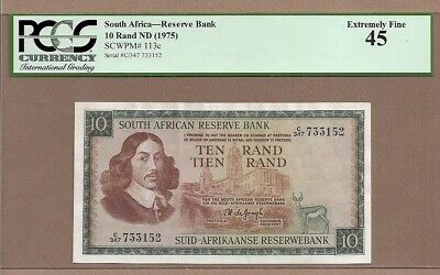 SOUTH AFRICA: 10 Rand Banknote,(XF PCGS45),P-113c,1975,No Reserve!