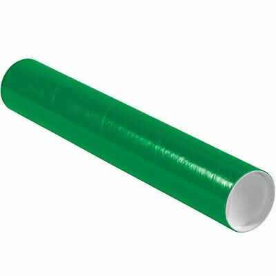 """Aviditi P3018G Mailing Tubes with Caps 3"""" x 18"""" Green Pack of 24"""