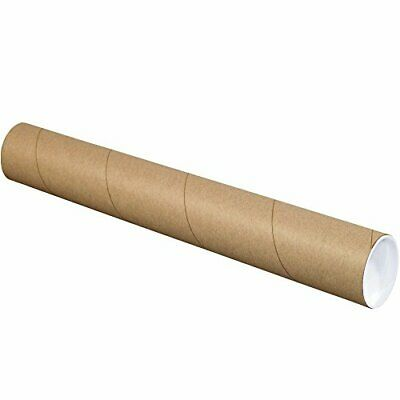 """BOX USA BP3038K Mailing Tubes with Caps 3"""" x 38"""" Kraft Pack of 24"""
