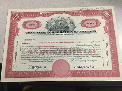 Specimen Certificate. Container Corp. of America. American Bank Note Company