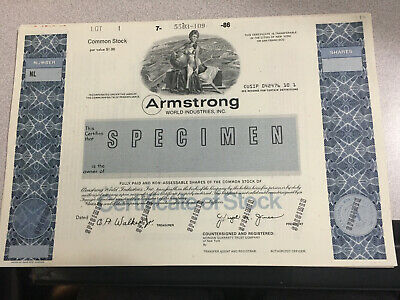 Specimen Certificates. Two Armstrong World Industries. American Bank Note