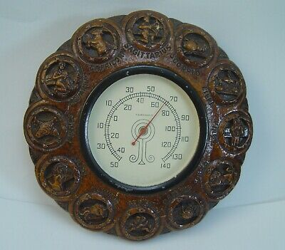 "1940'S Syroco Wood ""Signs Of The Zodiac"" Indoor Thermometer Rare And Nice"