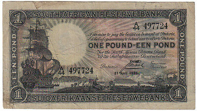 South Africa 1 Rand 21 April 1935 Pick 84 Look Scans