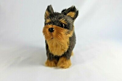 Terrier Brown Dog Faux FUR FIGURINE Animal Statue Realistic Sculpture 4.5x5.5 in