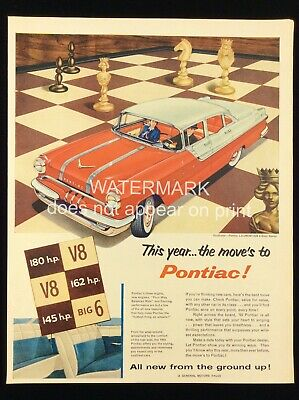 1955 Pontiac Laurentian 4-Door Sedan General Motors GM Car Print Ad 219A