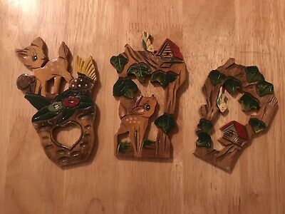 Set Of Vintage Wooden Baby Deer Bambi Wall Decorations