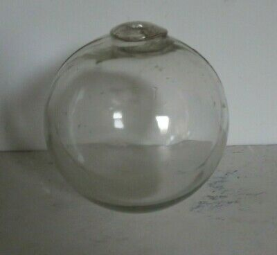 """Genuine vintage Clear Glass Vintage Hand Blown Glass Fishing Float Stamped """"LT"""""""