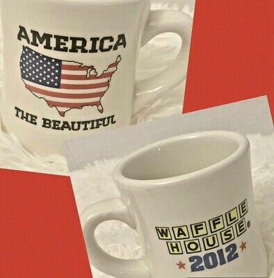 Waffle House Coffee Cup Mug America The Beautiful Flag 2012 Tuxton Heavy Ceramic