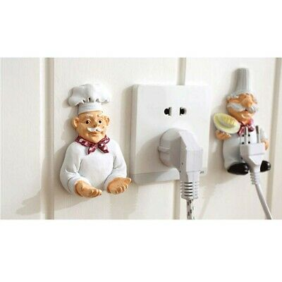 2-Piece Cute Cartoon Chef Power Cable Plug Hook Wall Decor for Kitchen