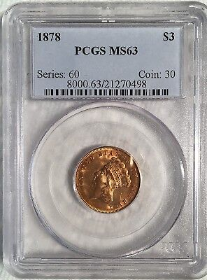 1878 $3.00 Gold Princess - PCGS MS 63 - High Quality Scans #0498