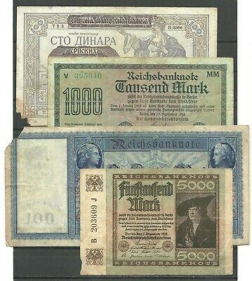 GERMANY Four old different notes, circulated lot b