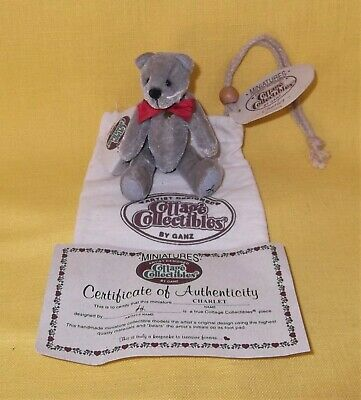 Ganz Cottage Collectibles Mini Gray Kitty Cat Charlet Complete