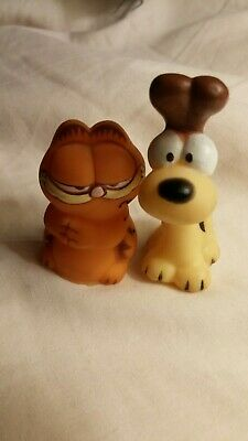 GARFIELD ODIE Rubber Pencil Topper Toy Figures 1980 vintage GET BOTH low ship