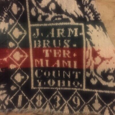 Antique Red & Blue Jacquard Coverlet dated 1839 Miami County Ohio