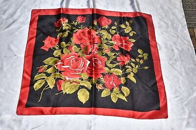 VINTAGE ROSES DESIGN BLACK SATIN  SCARVES  by  ST MICHAEL perfect 4 mothers day