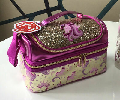 Girls Smiggle Gold Unicorn Double Decker Sandwich Lunch Bag Box Strapped 🌈 NEW