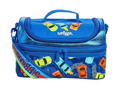 Boys Smiggle Blue Junior Strapped Lunch Box Whirl Double Decker Cars New Strap