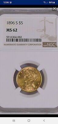 1896-S $5 Gold Liberty Half Eagle NGC MS-62, A Superb Quality Coin...PQ!