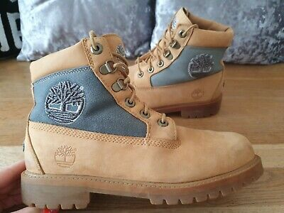 Timberland Big Logo Boots Youth Boys Size Uk5 Eu37.5 Genuine Good Condition