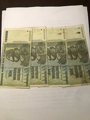 Ten 10Trillion Zimbabwe Dollars 2008 Banknote Money Currency 4 Pieces Circulated
