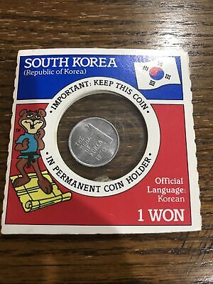 1969 Uncirculated 1 WON Coin From South Korea Republic Of Korea Permanent Holder