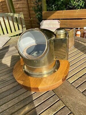 Antique brass ships gimbal compass and binnacle