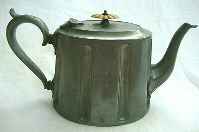 Antique Tableware Solid Pewter Metal Teapot Tea Pot Numbered 4287