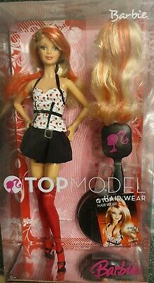 Barbie Top model Hair Wear blonde mèches rouges