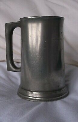 Vintage 1920's James Dixon Glass Bottom Pewter Tankard with Inscription
