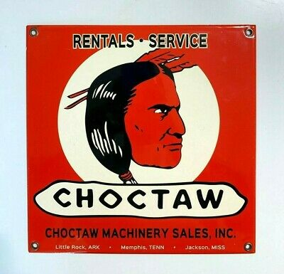 "Porcelain Choctaw Machinery Sales Enamel Sign Size 9.5"" x 9.5"" Inches"