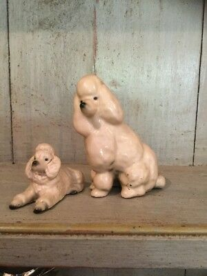 Antique French Poodle Figurine With Pup Cream Satin finish Poodle Pair