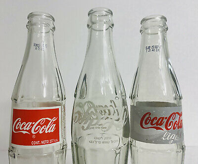 Coca Cola Bottles from Chile and Israel set of 3