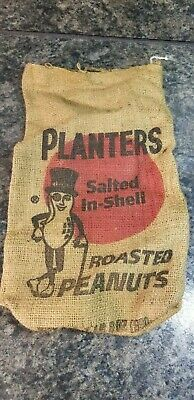 Vintage Planters Salted In-Shell Roasted Peanuts Burlap Bag 1lb, 8oz