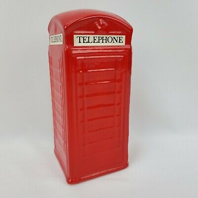 """Vintage London Red Ceramic Telephone Booth Piggy Coin Bank 7.45"""" Tall x 3.25"""""""