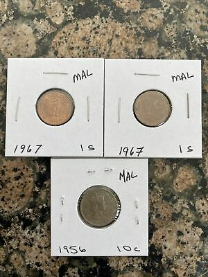 Lot of 3 Coins from Malaysia 1956-1967